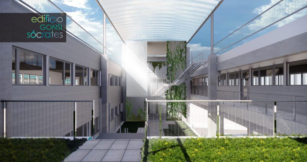 Terraza interior oficinas Edificio Gonsi Sócrates Barcelona